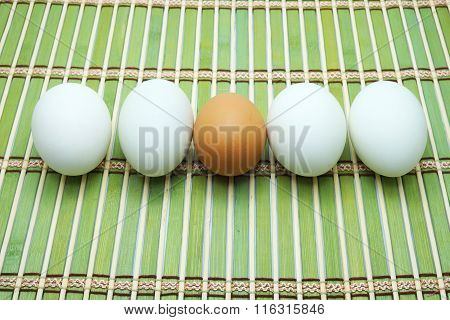 White and brown eggs on green bamboo mat. Focus on brown eggs. Space for texts.