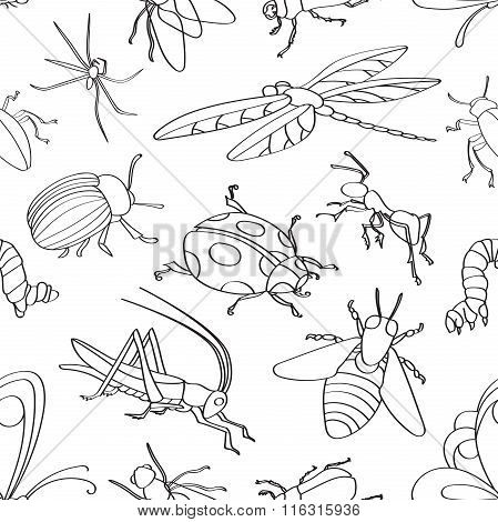 Doodle pattern insects