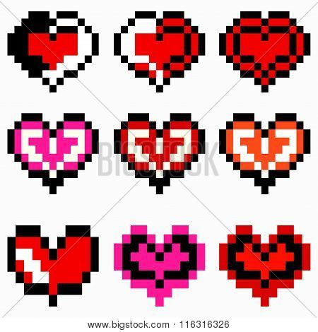 Vector Heart Pixel Icons