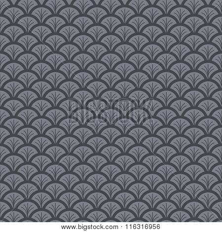 Monochrome fish scale seamless pattern