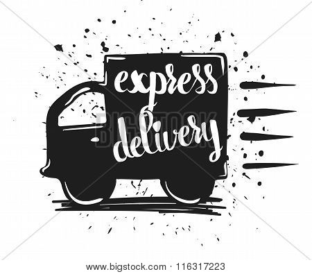 Hand Drawn Typography Poster, Express Delivery, Isolated On White Background. Calligraphy Lettering