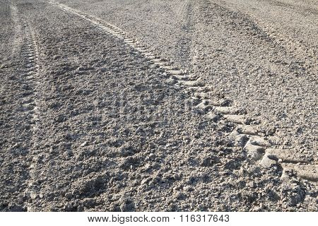 Wheel Tracks On The Ploughed Field