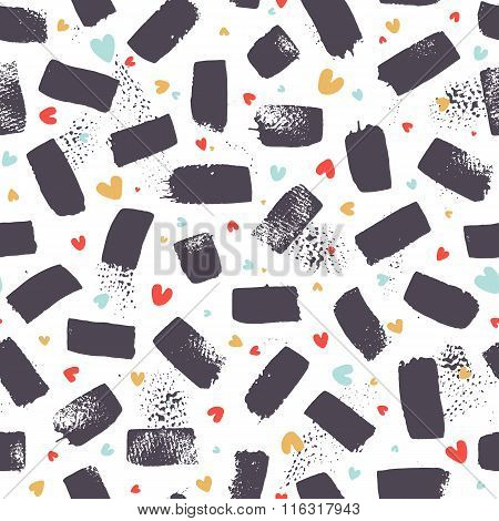 Vector Brush Strokes With Colored Hearts. Seamless Pattern.