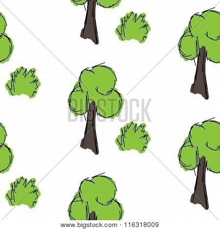 Tree And Shrub Painting Is Painted On A White Background, Seamless Pattern