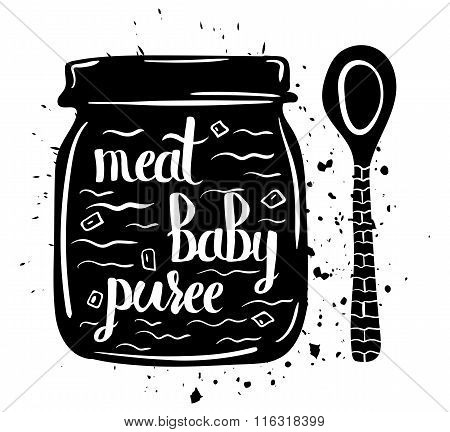 Children Natural Food. A Jar Of Baby Puree From Meat Isolated On A White Background. Vector