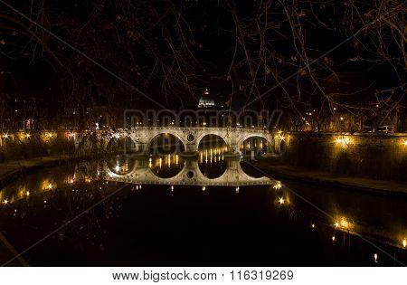 Ponte Sisto At Night, Rome