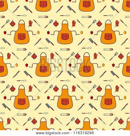 Kitchen seamless pattern. Vector.