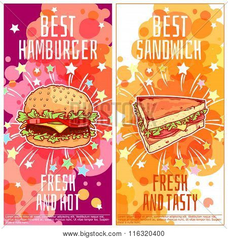 Two Vertical Orientation Flyers For Fast Food.