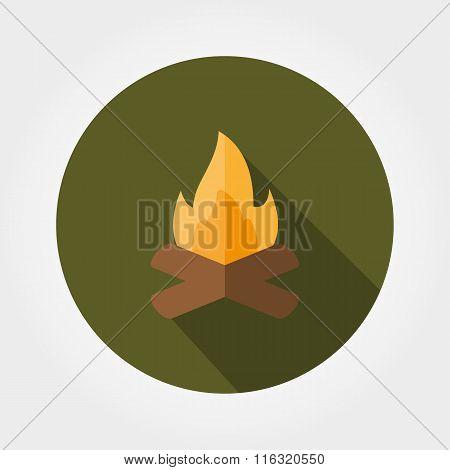 Campfire. Icon. Flat.