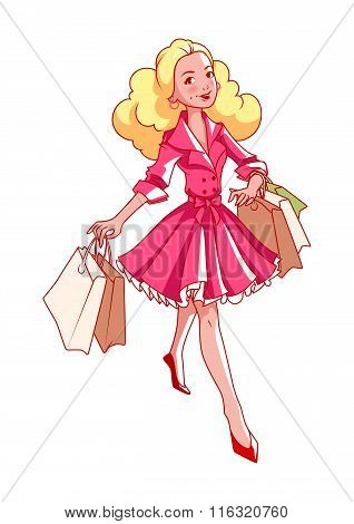 Cheerful Young Blonde Girl Goes Shopping With Bags In Their Hands.