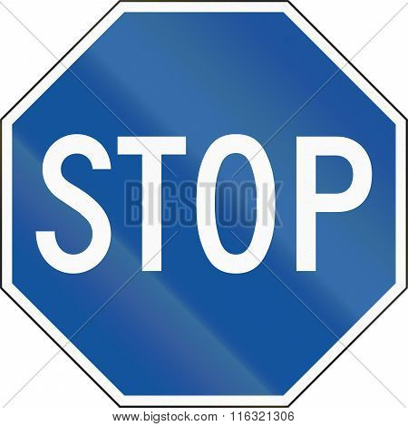 United States Regulatory Road Sign - Alternative Blue Stop Road Sign In Hawaii