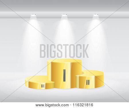 Gold winners podium isolated illustrator.