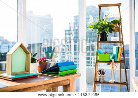 View of a business desk in office