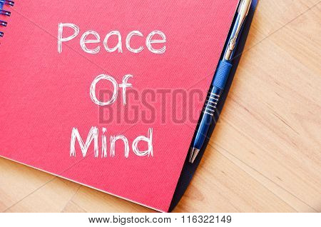 Peace Of Mind Write On Notebook