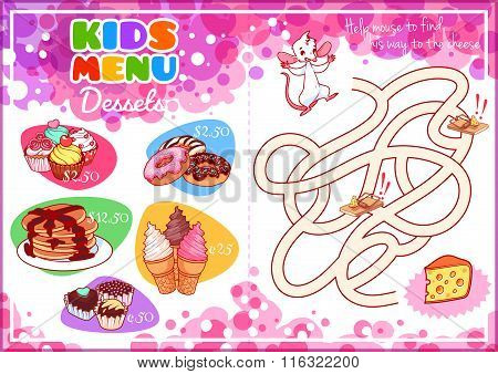 Kids Menu For Desserts With Maze Game.