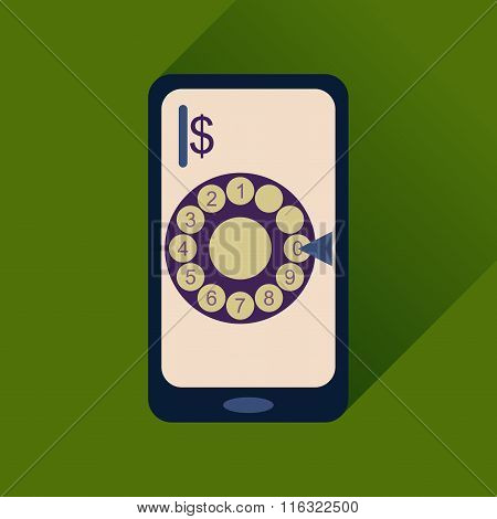 Flat web icon with long shadow mobile call