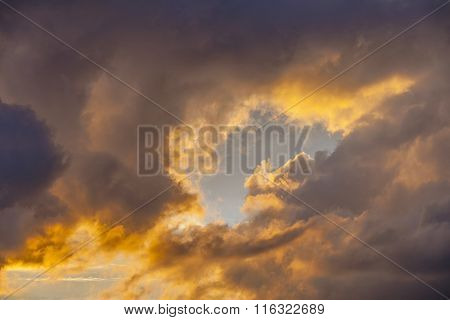 romantic sunset in Sankt Wendel with dramatic sky
