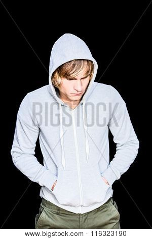 Man in hood jacket thinking with black background