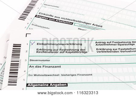 Form of income tax return in Germany