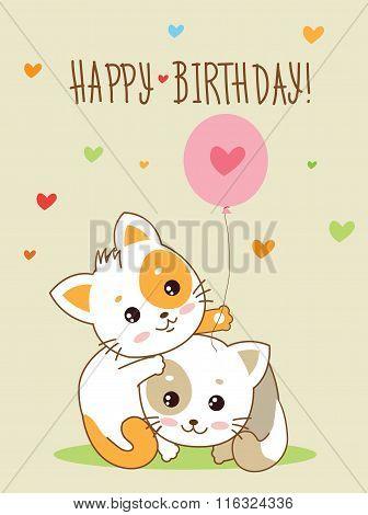 Happy Birthday Card Two Cute Cheerful Kittens.