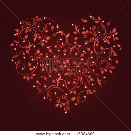 Heart With Glowing Lights. Lace heart of floral pattern. Elegant cards. EPS 10.