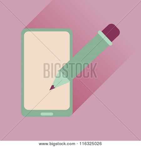 Flat web icon with long shadow mobile notes