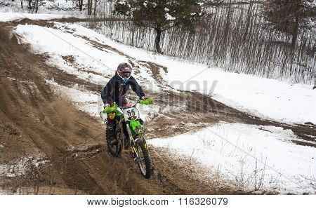 Motorcyclist Training On A Winter Race Track