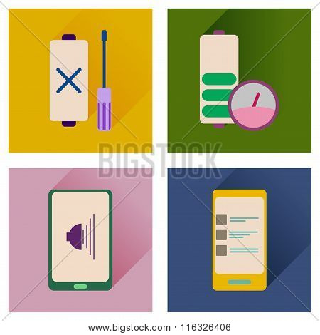Concept of flat icons with long shadow mobile applications
