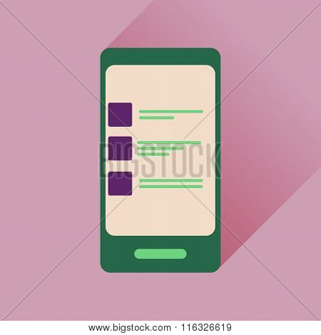 Flat icon with long shadow Mobile Phone SMS