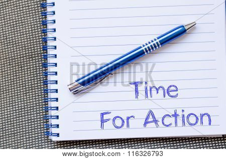 Time For Action Write On Notebook