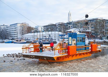 Ordinary Passengers Go On City Boat Fori, Turku, Finland