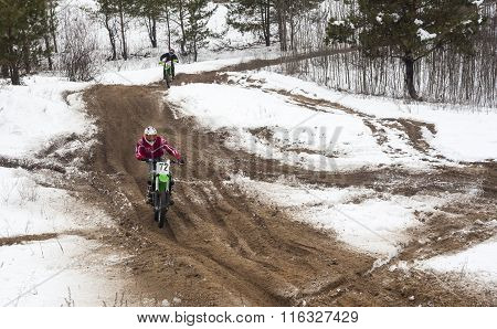 Motorcyclists Training On A Winter Race Track