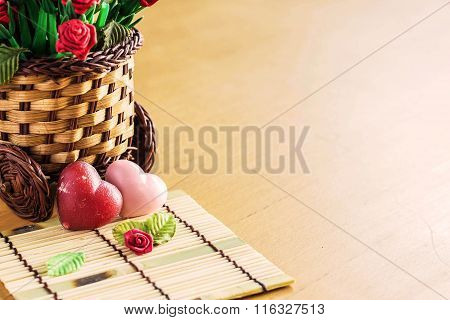 Hearts And Roses On Bamboo Flooring.