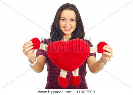 Lovely Woman Holding Heart Toy