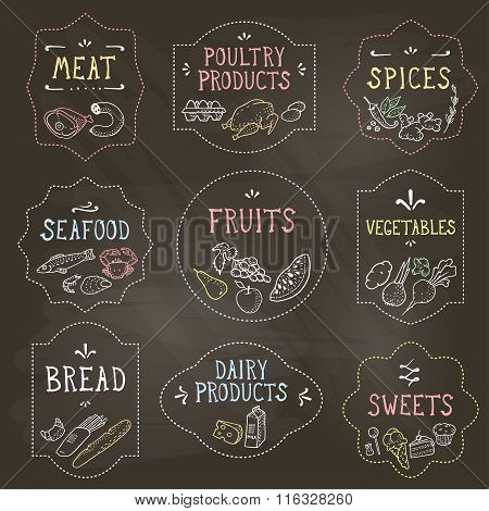 Food Badges Set, Hand Drawn By Chalk. Vector Illustration, Eps10.
