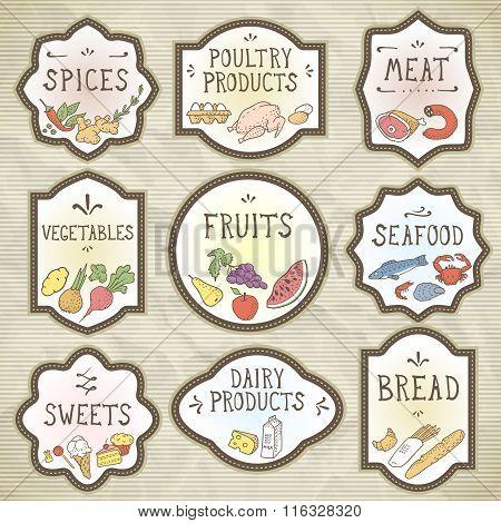 Hand Drawn Food Badges Set. Vector Illustration, Eps10.