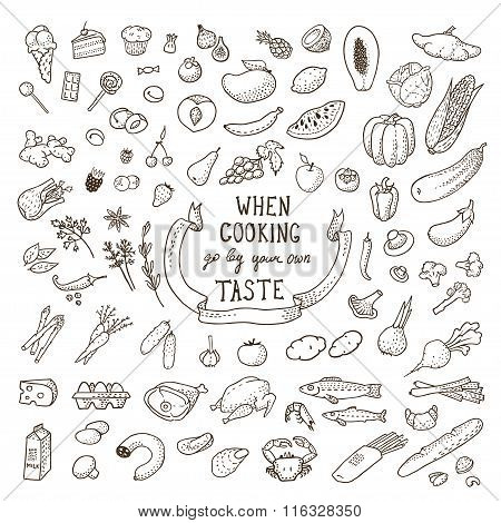 Hand Drawn Food Set. Vector Illustration, Eps10.