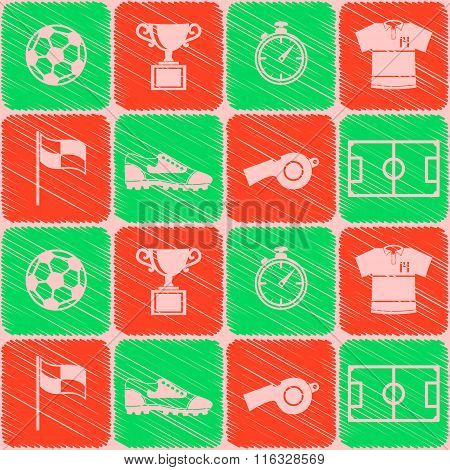 Seamless pattern with soccer icons