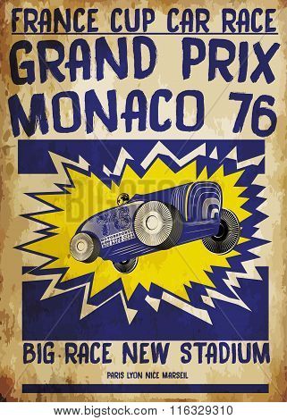 Tee Ggraphic Vintage Race Car For Printing.vector Old School Race Poster.retro Race Car Set