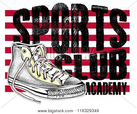 Fashion Sports Shoes Modern Sneakers Illustration..