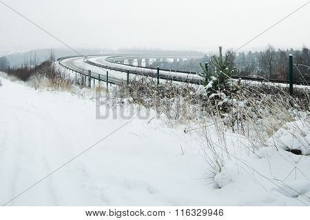 Winter Noon At The New Czech International Road No. 7 Continued To Germany
