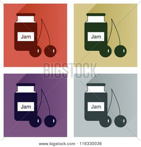 Vector set flat icons with long shadow Bank cherry jam
