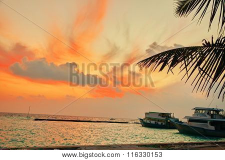 Sunrise On A Tropical Island In The Indian Ocean. Maldives.