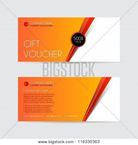 Orange Gift voucher template.