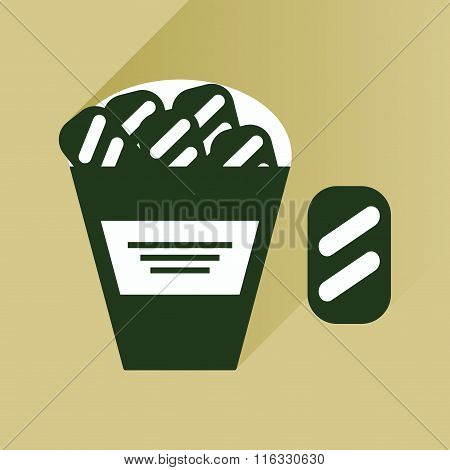 flat icon with long shadow snack crackers