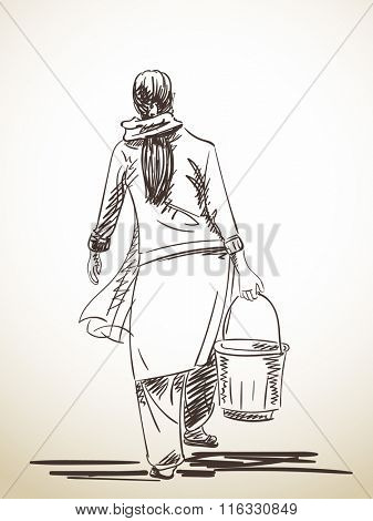 Sketch of woman carries a bucket, Hand drawn illustration