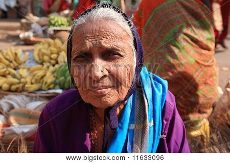 Old Woman At Indian Market Goa