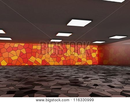 Abstract architecture background, empty interior and walls. 3d rendering