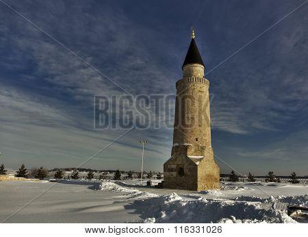 the ancient minaret winter of Tatarstan.