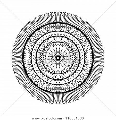 Vector Adult Coloring Book Page Circular Pattern Mandala Star Black And White - Geometrical